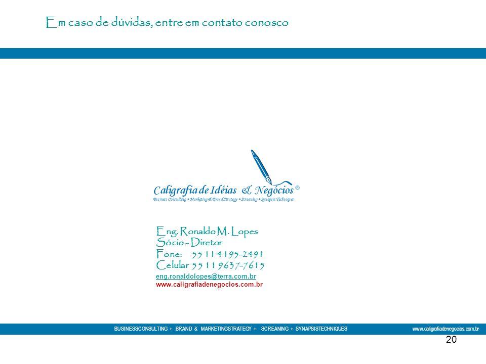 20 Eng. Ronaldo M. Lopes Sócio - Diretor Fone: 55 11 4195-2491 Celular 55 11 9637-7615 eng.ronaldolopes@terra.com.br eng.ronaldolopes@terra.com.br www