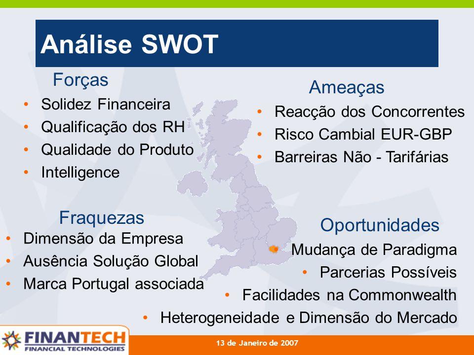 13 de Janeiro de 2007 Análise SWOT Forças Fraquezas Oportunidades Ameaças Solidez Financeira Qualificação dos RH Qualidade do Produto Intelligence Dim