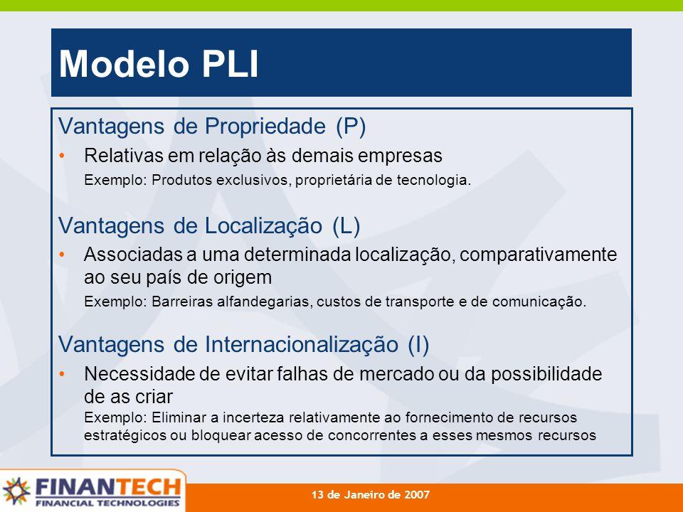 13 de Janeiro de 2007 Modelo PLI Vantagens de Propriedade (P) Relativas em relação às demais empresas Exemplo: Produtos exclusivos, proprietária de te