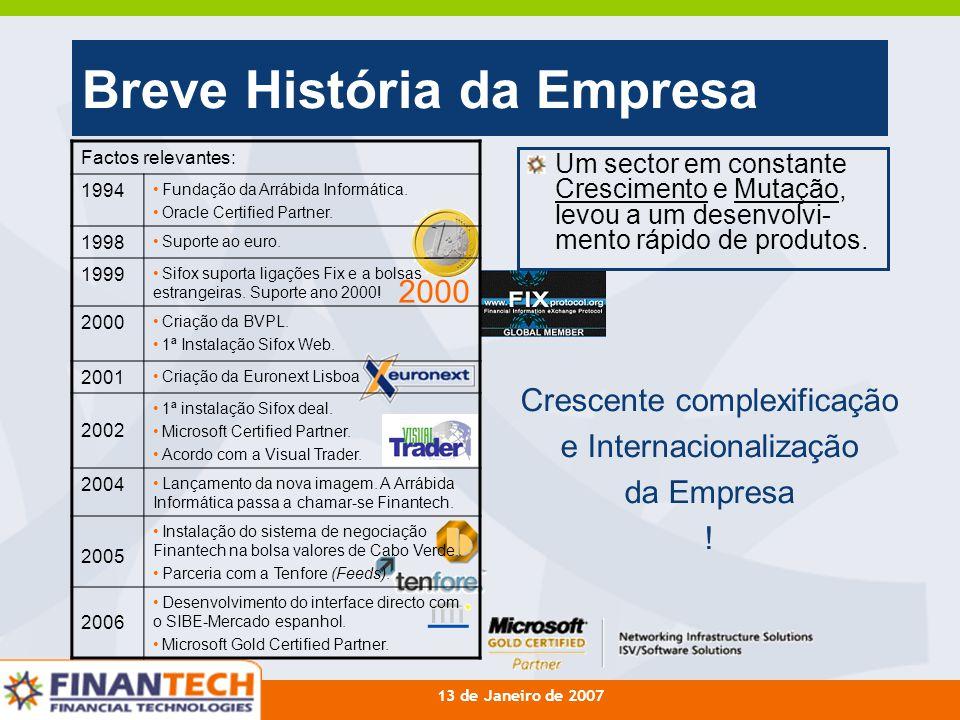 13 de Janeiro de 2007 Breve História da Empresa Um sector em constante Crescimento e Mutação, levou a um desenvolvi- mento rápido de produtos. Factos