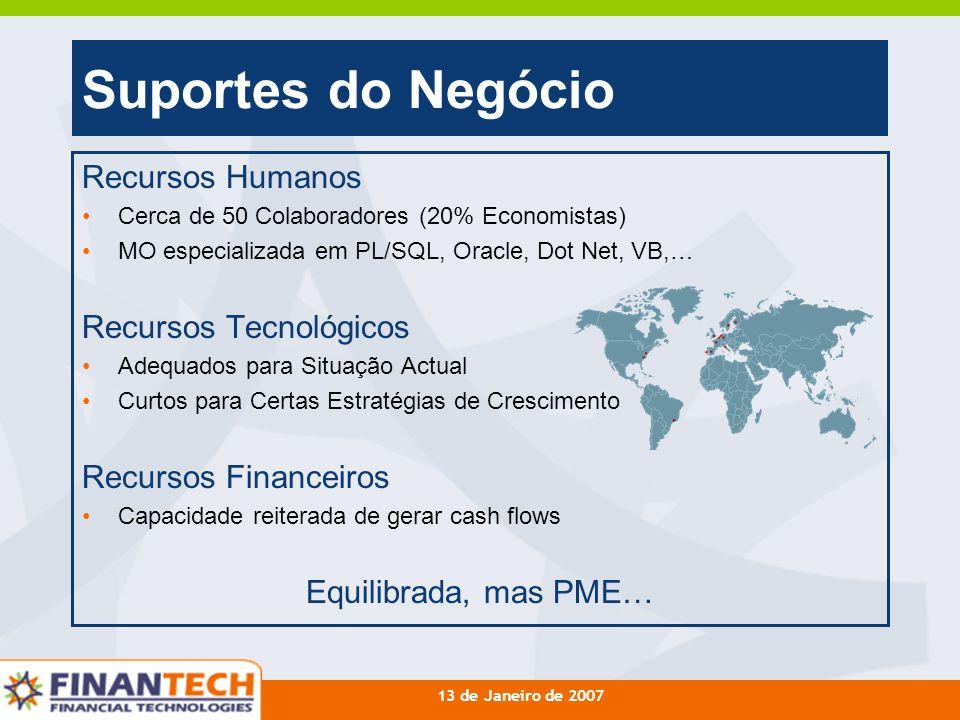 13 de Janeiro de 2007 Suportes do Negócio Recursos Humanos Cerca de 50 Colaboradores (20% Economistas) MO especializada em PL/SQL, Oracle, Dot Net, VB