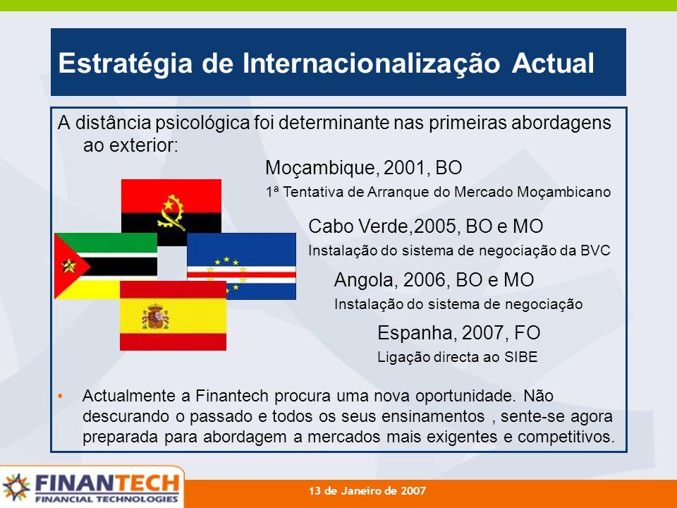 13 de Janeiro de 2007 Estratégia de Internacionalização Actual A distância psicológica foi determinante nas primeiras abordagens ao exterior: Cabo Ver