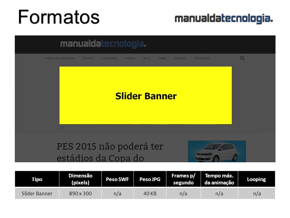 Formatos Tipo Dimensão (pixels) Peso SWFPeso JPG Frames p/ segundo Tempo máx.