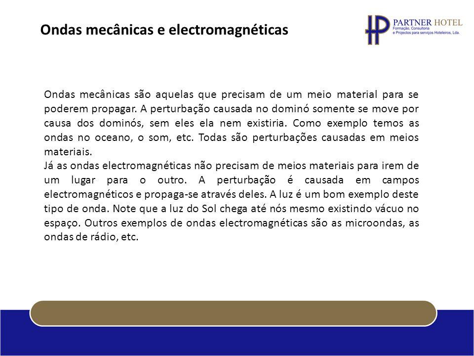 Ondas mecânicas e electromagnéticas Ondas mecânicas são aquelas que precisam de um meio material para se poderem propagar. A perturbação causada no do