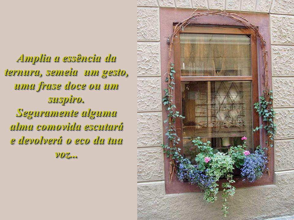 Expõe na janela toda a alegria de viver, mostra ao mundo um rosto luminoso, uma face sem rugas de preocupações, prontinha para ser acariciada e admira