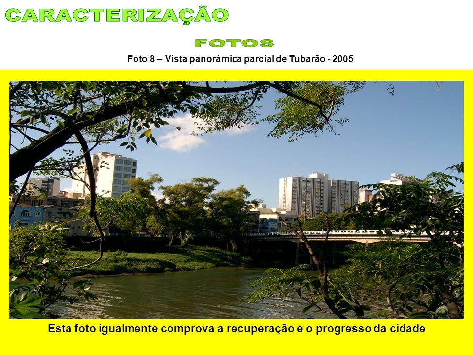 Foto 8 – Vista panorâmica parcial de Tubarão - 2005 Esta foto igualmente comprova a recuperação e o progresso da cidade