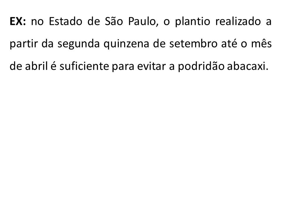 EX: no Estado de São Paulo, o plantio realizado a partir da segunda quinzena de setembro até o mês de abril é suficiente para evitar a podridão abacax