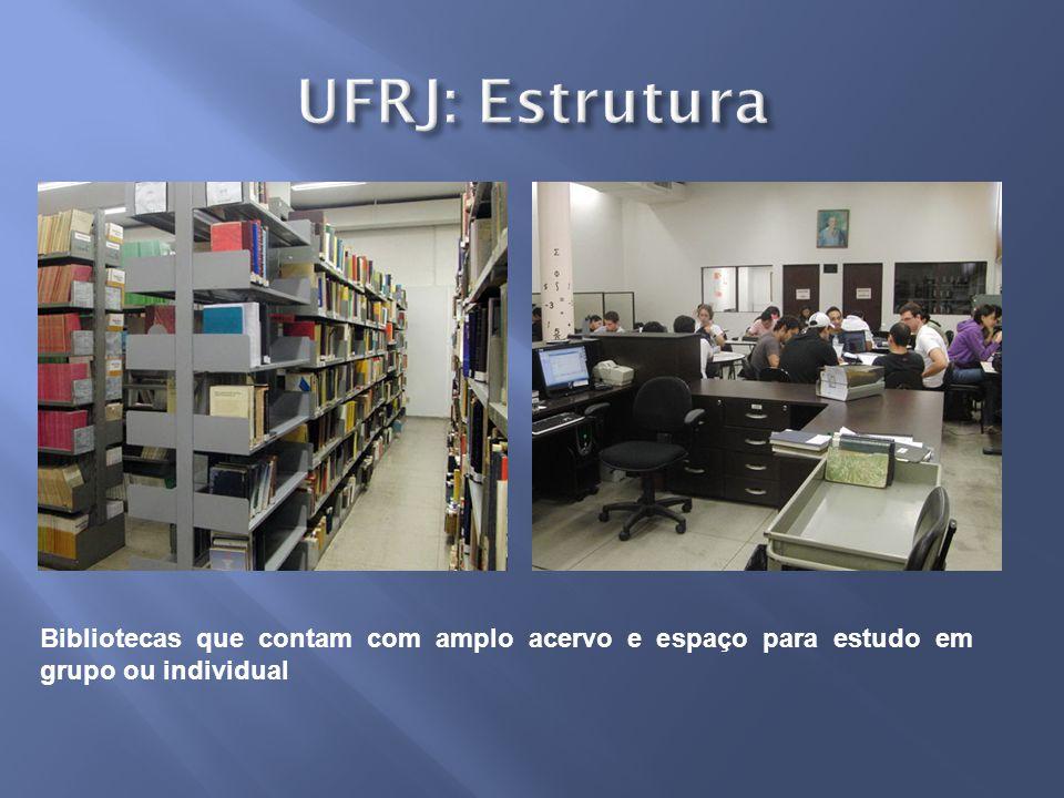 Bibliotecas que contam com amplo acervo e espaço para estudo em grupo ou individual