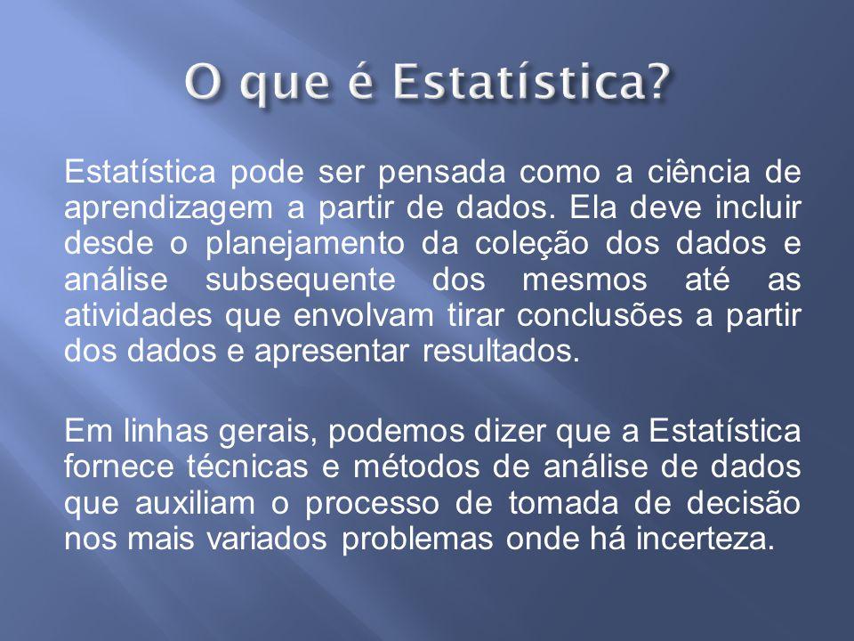 Estatística pode ser pensada como a ciência de aprendizagem a partir de dados.