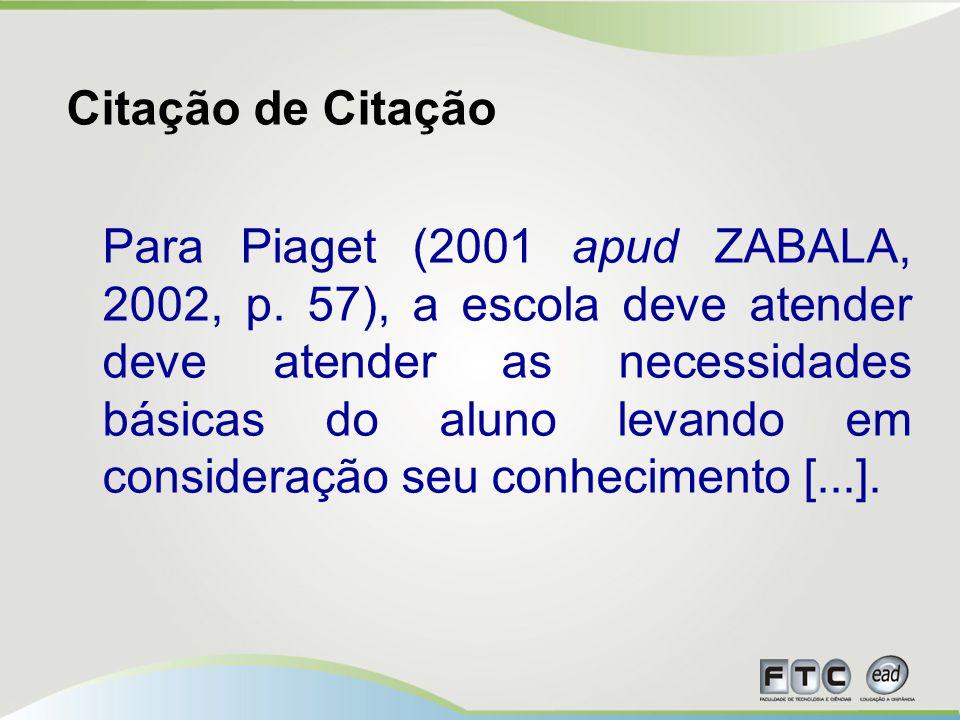Citação de Citação Para Piaget (2001 apud ZABALA, 2002, p.