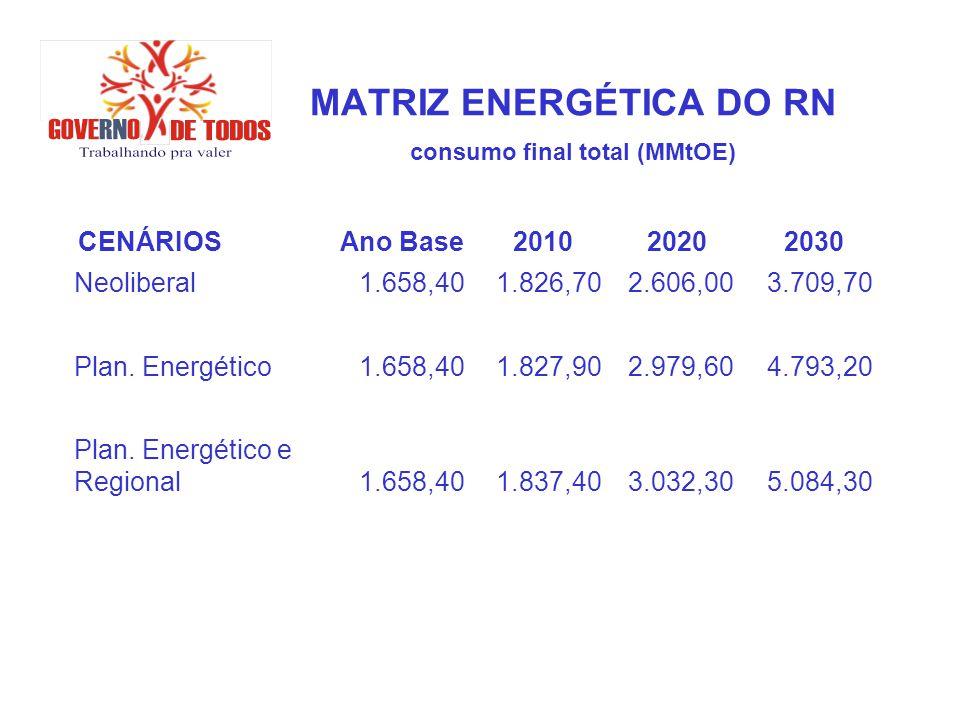 MATRIZ ENERGÉTICA DO RN consumo final total (MMtOE) CENÁRIOSAno Base201020202030 Neoliberal1.658,401.826,702.606,003.709,70 Plan. Energético1.658,401.