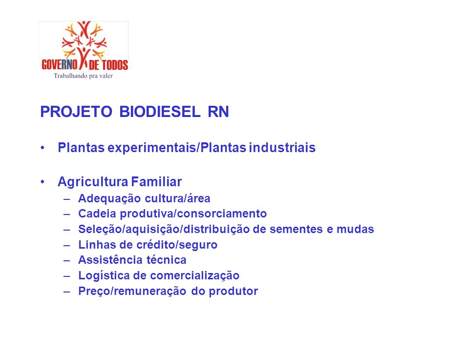PROJETO BIODIESEL RN Plantas experimentais/Plantas industriais Agricultura Familiar –Adequação cultura/área –Cadeia produtiva/consorciamento –Seleção/