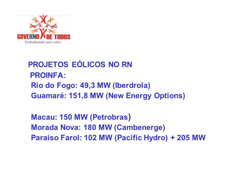 PROJETOS EÓLICOS NO RN PROINFA: Rio do Fogo: 49,3 MW (Iberdrola) Guamaré: 151,8 MW (New Energy Options) Macau: 150 MW (Petrobras ) Morada Nova: 180 MW