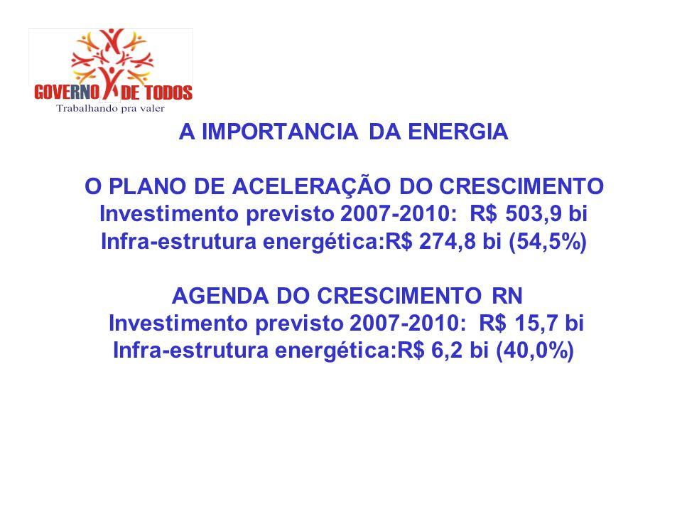 A IMPORTANCIA DA ENERGIA O PLANO DE ACELERAÇÃO DO CRESCIMENTO Investimento previsto 2007-2010: R$ 503,9 bi Infra-estrutura energética:R$ 274,8 bi (54,