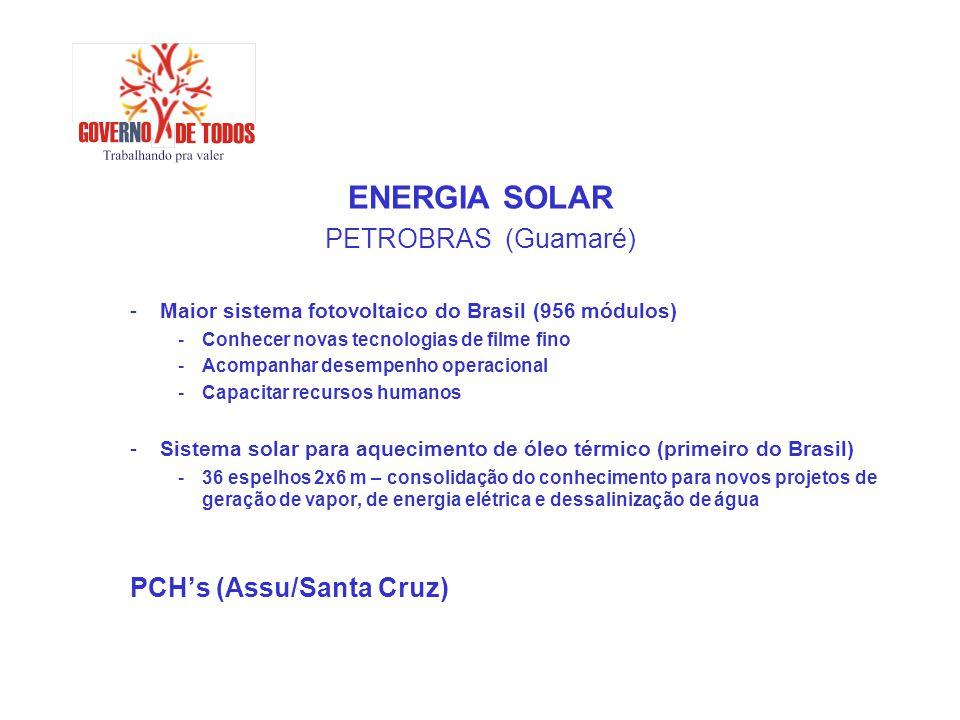 ENERGIA SOLAR PETROBRAS (Guamaré) -Maior sistema fotovoltaico do Brasil (956 módulos) -Conhecer novas tecnologias de filme fino -Acompanhar desempenho