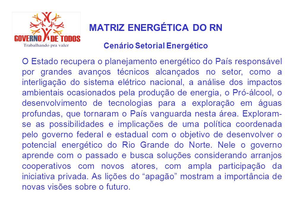 MATRIZ ENERGÉTICA DO RN Cenário Setorial Energético O Estado recupera o planejamento energético do País responsável por grandes avanços técnicos alcan
