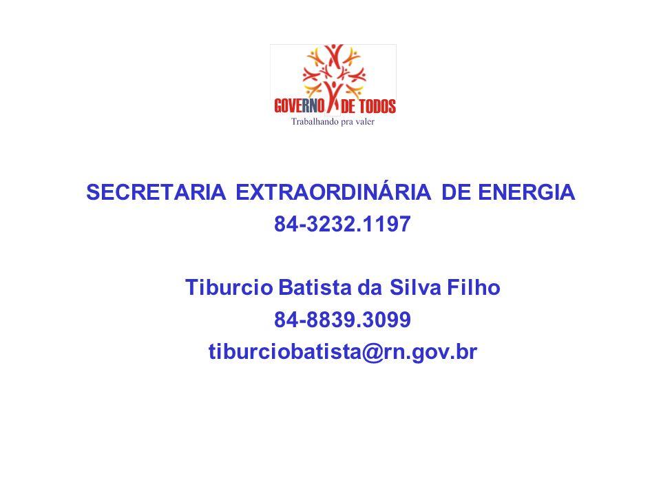 SECRETARIA EXTRAORDINÁRIA DE ENERGIA 84-3232.1197 Tiburcio Batista da Silva Filho 84-8839.3099 tiburciobatista@rn.gov.br