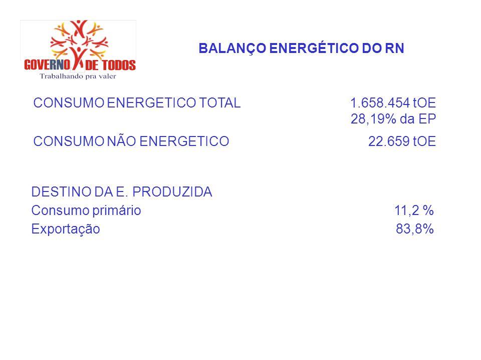 BALANÇO ENERGÉTICO DO RN CONSUMO ENERGETICO TOTAL1.658.454 tOE 28,19% da EP CONSUMO NÃO ENERGETICO22.659 tOE DESTINO DA E. PRODUZIDA Consumo primário1
