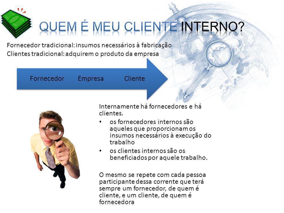 Internamente há fornecedores e há clientes. os fornecedores internos são aqueles que proporcionam os insumos necessários à execução do trabalho os cli