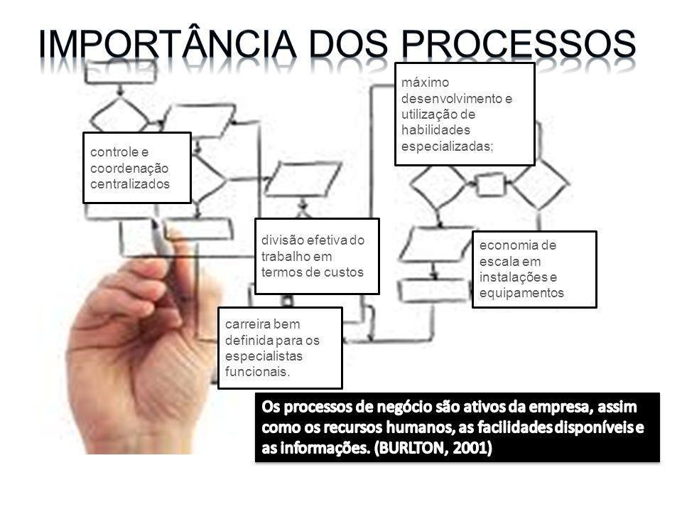 máximo desenvolvimento e utilização de habilidades especializadas; divisão efetiva do trabalho em termos de custos economia de escala em instalações e