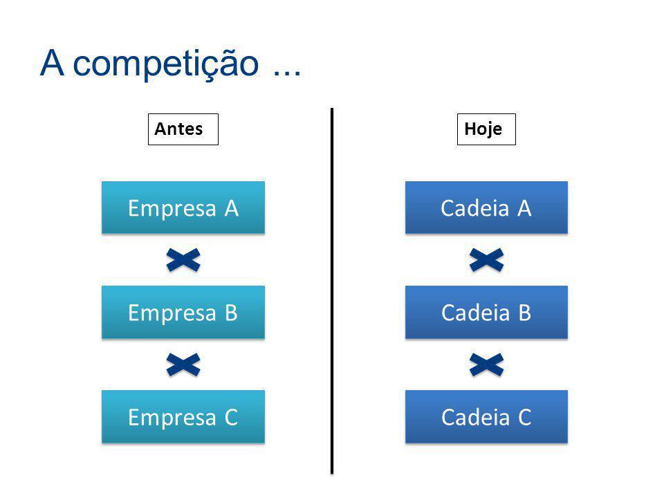 A competição... AntesHoje Empresa A Empresa B Empresa C Cadeia A Cadeia B Cadeia C