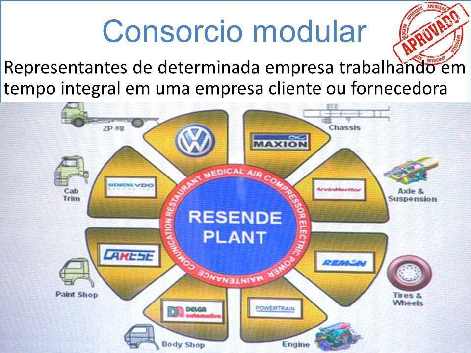 Consorcio modular Representantes de determinada empresa trabalhando em tempo integral em uma empresa cliente ou fornecedora