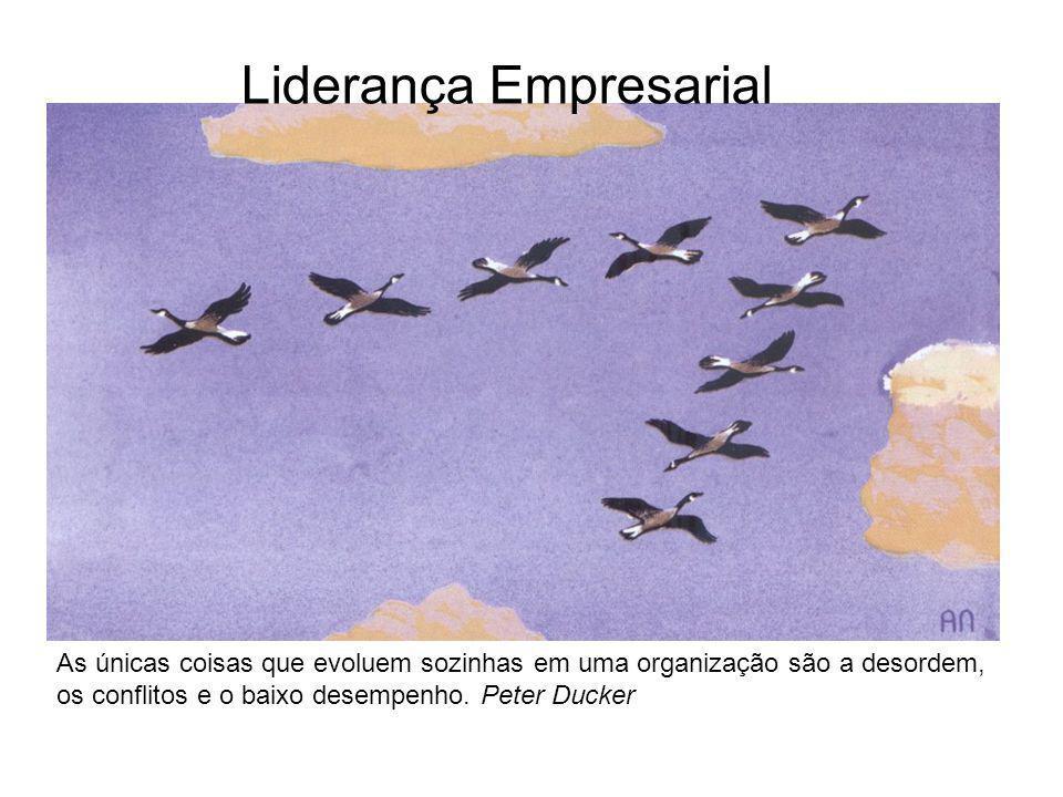 Liderança Empresarial As únicas coisas que evoluem sozinhas em uma organização são a desordem, os conflitos e o baixo desempenho. Peter Ducker