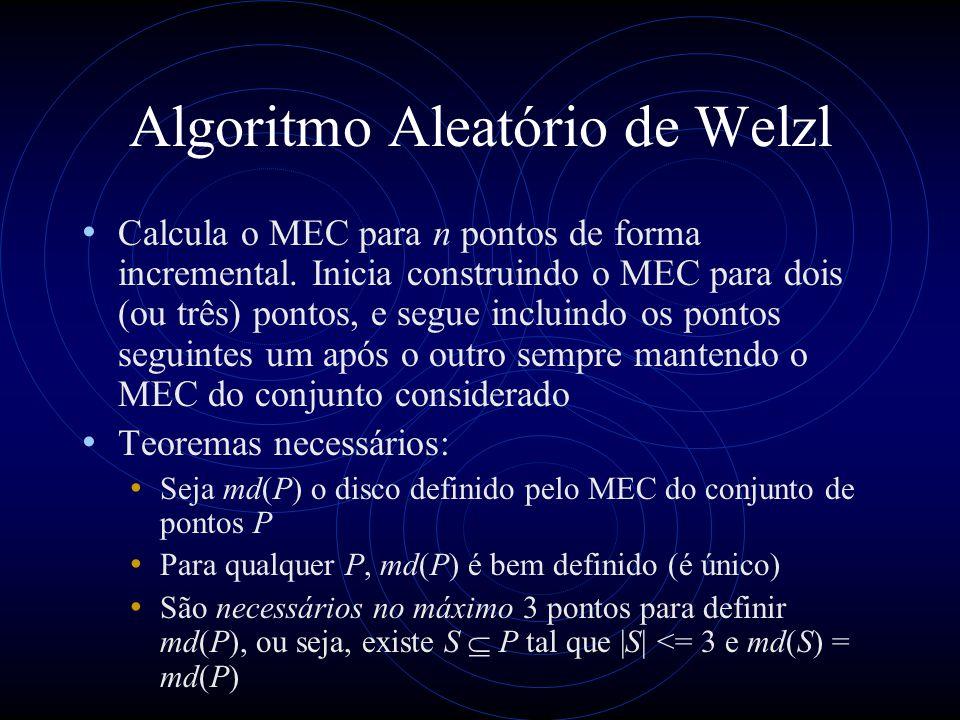 Algoritmo Aleatório de Welzl Calcula o MEC para n pontos de forma incremental. Inicia construindo o MEC para dois (ou três) pontos, e segue incluindo