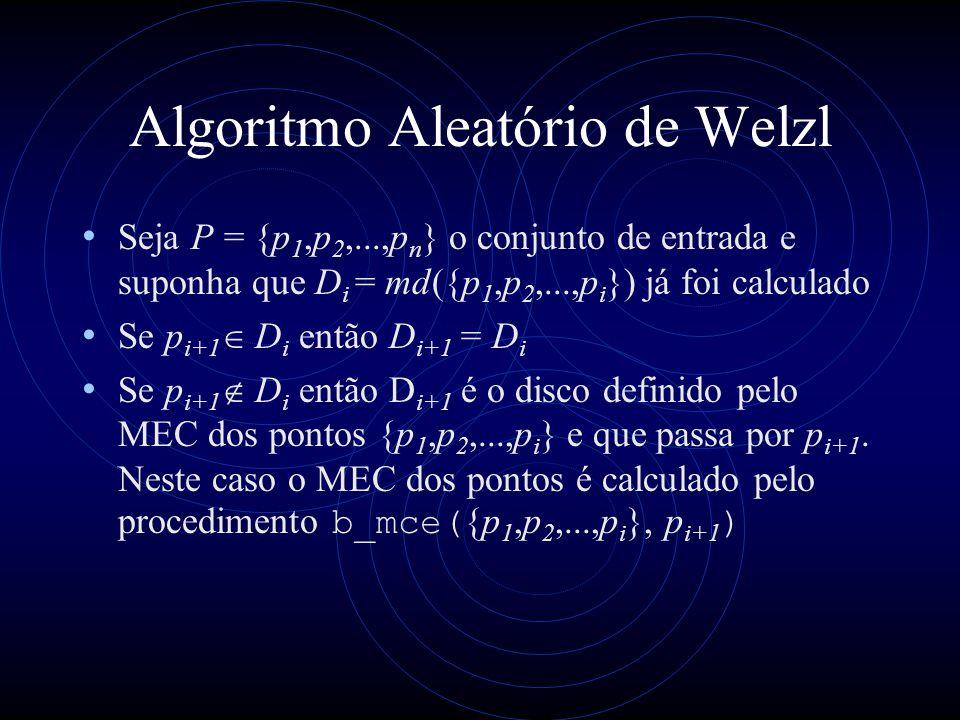 Algoritmo Aleatório de Welzl Seja P = {p 1,p 2,...,p n } o conjunto de entrada e suponha que D i = md({p 1,p 2,...,p i }) já foi calculado Se p i+1 D