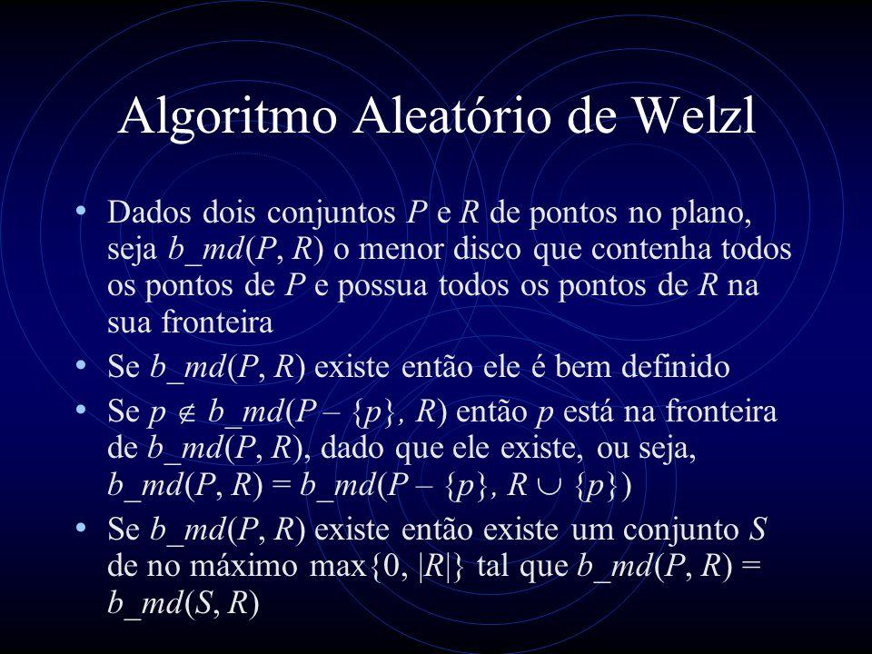 Algoritmo Aleatório de Welzl Dados dois conjuntos P e R de pontos no plano, seja b_md(P, R) o menor disco que contenha todos os pontos de P e possua t