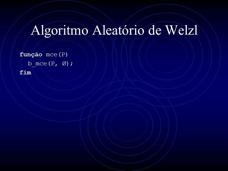 Algoritmo Aleatório de Welzl função mce(P) b_mce(P, Ø); fim