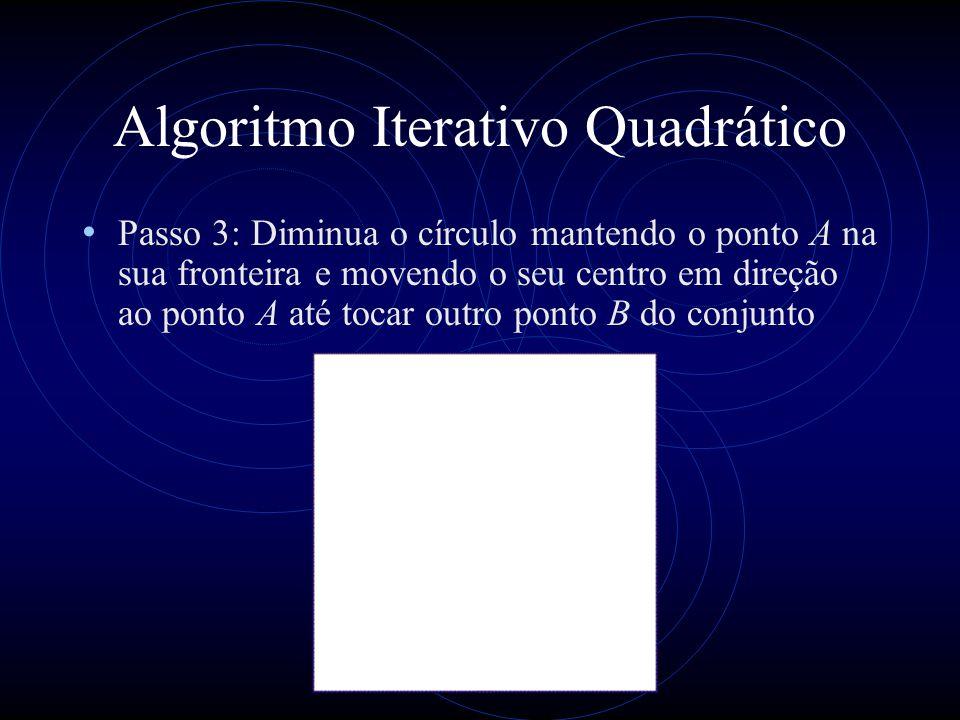 Algoritmo Aleatório de Welzl função b_mce(P, R) se P = Ø ou |R| = 3 então D := b_md( Ø, R); senão escolhe p P aleatoriamente D := b_mce(P - {p}); se p D então D := b_mce(P - {p}, R {p}); retorna D; fim probabilidade 3/n