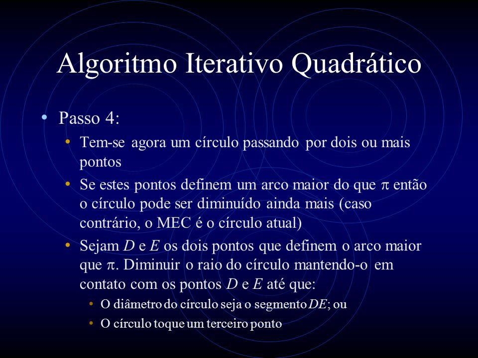 Algoritmo Iterativo Quadrático Passo 4: Tem-se agora um círculo passando por dois ou mais pontos Se estes pontos definem um arco maior do que então o