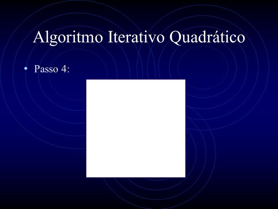 Algoritmo Iterativo Quadrático Passo 4: Se um círculo com diâmetro DE é encontrado então este é o MEC Se o círculo toca um terceiro ponto então repete-se o passo 4
