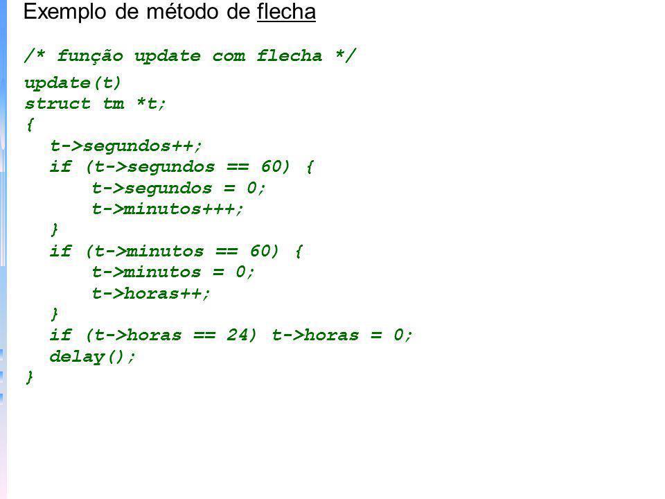 Exemplo de método de flecha /* função update com flecha */ update(t) struct tm *t; { t->segundos++; if (t->segundos == 60) { t->segundos = 0; t->minut