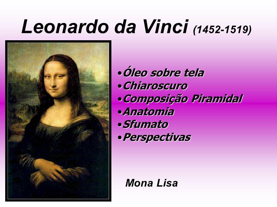 Leonardo da Vinci (1452-1519) Mona Lisa Óleo sobre telaÓleo sobre tela ChiaroscuroChiaroscuro Composição PiramidalComposição Piramidal AnatomiaAnatomia SfumatoSfumato PerspectivasPerspectivas
