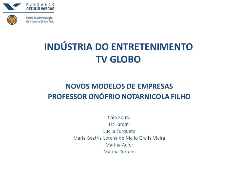 INDÚSTRIA DO ENTRETENIMENTO TV GLOBO NOVOS MODELOS DE EMPRESAS PROFESSOR ONÓFRIO NOTARNICOLA FILHO Caio Souza Lia Jardini Lucila Turqueto Maria Beatri