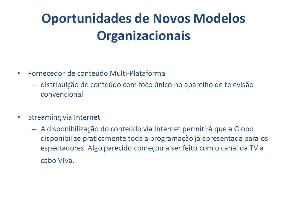 Oportunidades de Novos Modelos Organizacionais Fornecedor de conteúdo Multi-Plataforma – distribuição de conteúdo com foco único no aparelho de televi