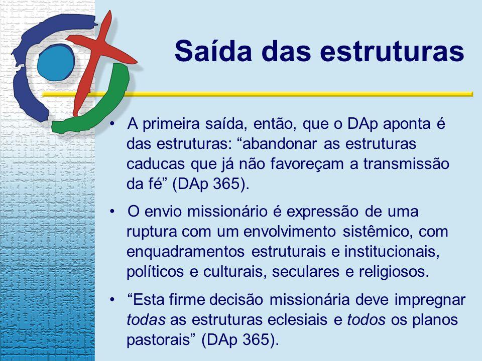 Saída das estruturas A primeira saída, então, que o DAp aponta é das estruturas: abandonar as estruturas caducas que já não favoreçam a transmissão da fé (DAp 365).