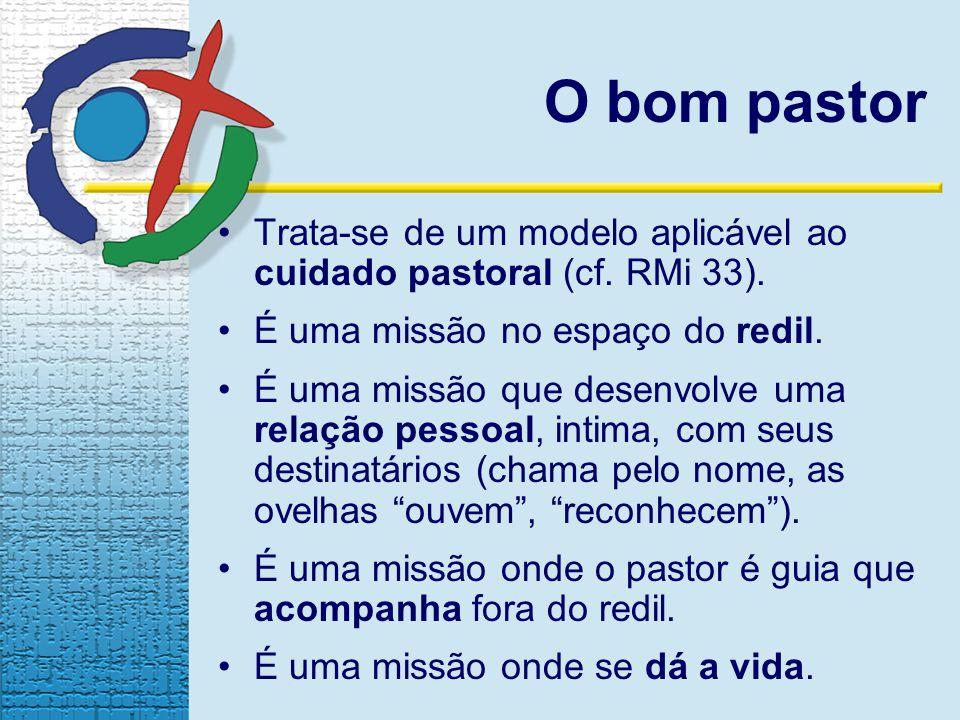 O bom pastor Trata-se de um modelo aplicável ao cuidado pastoral (cf. RMi 33). É uma missão no espaço do redil. É uma missão que desenvolve uma relaçã