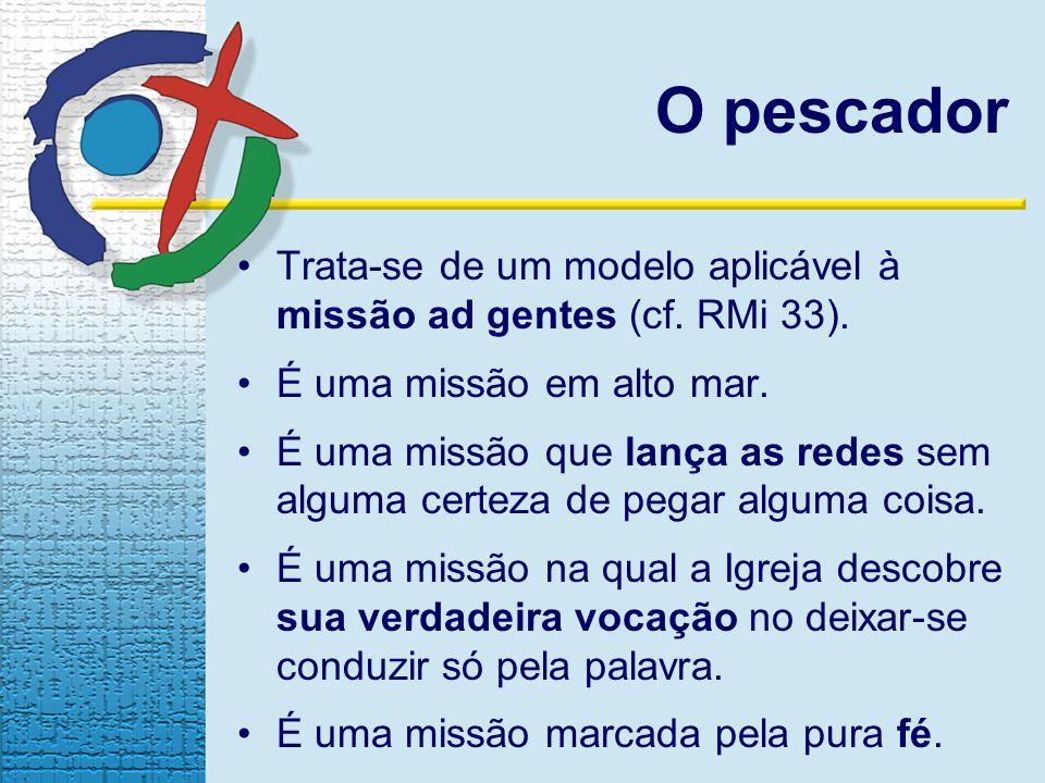 O pescador Trata-se de um modelo aplicável à missão ad gentes (cf. RMi 33). É uma missão em alto mar. É uma missão que lança as redes sem alguma certe