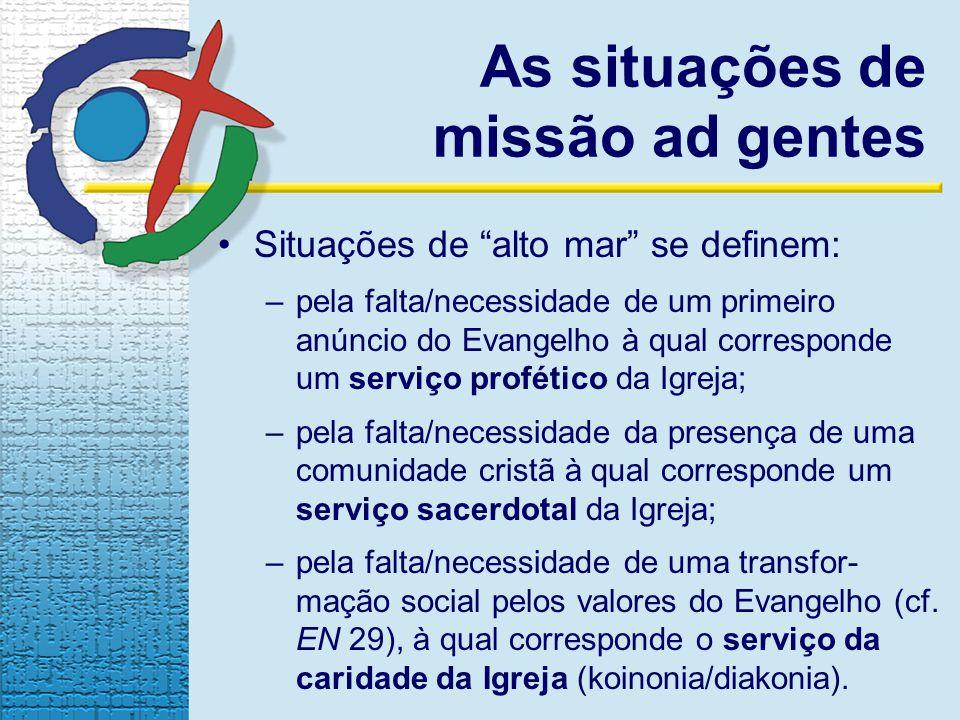 As situações de missão ad gentes Situações de alto mar se definem: –pela falta/necessidade de um primeiro anúncio do Evangelho à qual corresponde um s