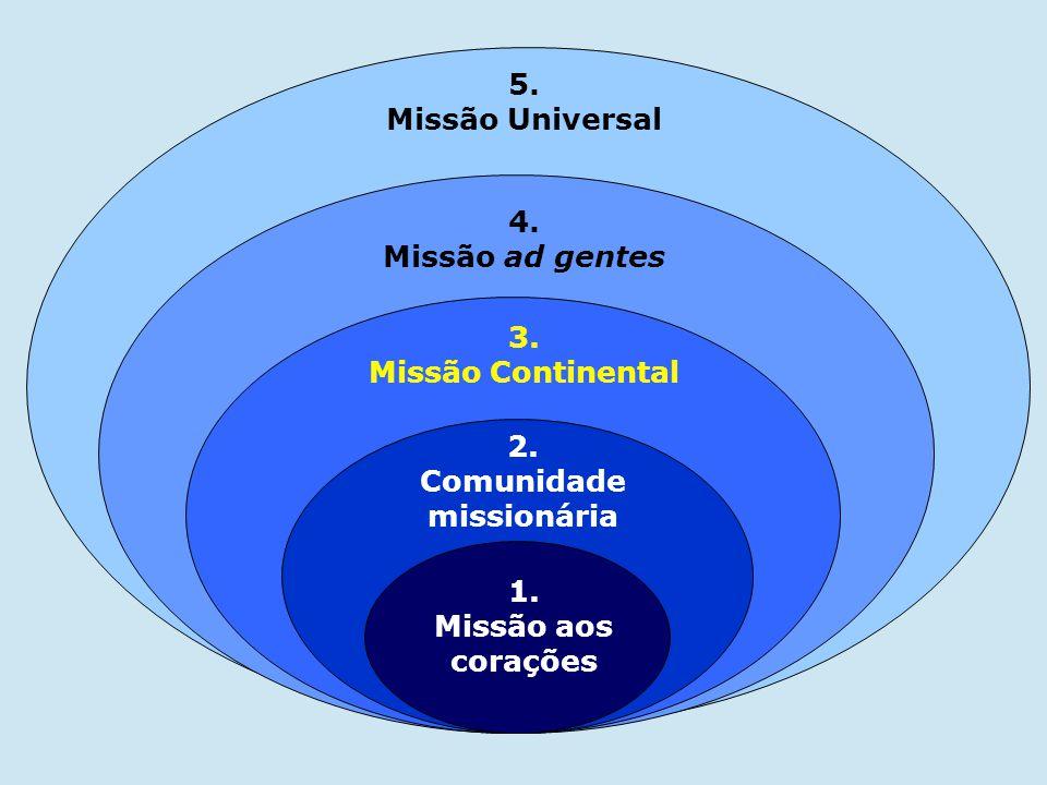 2. Comunidade missionária 3. Missão Continental 1. Missão aos corações 4. Missão ad gentes 5. Missão Universal