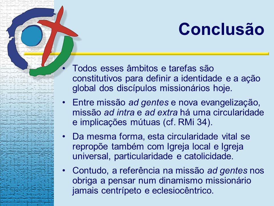Conclusão Todos esses âmbitos e tarefas são constitutivos para definir a identidade e a ação global dos discípulos missionários hoje. Entre missão ad