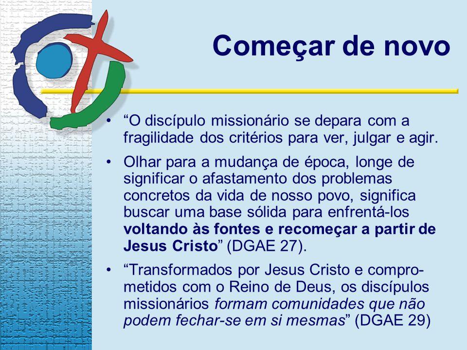 O discípulo missionário se depara com a fragilidade dos critérios para ver, julgar e agir. Olhar para a mudança de época, longe de significar o afasta