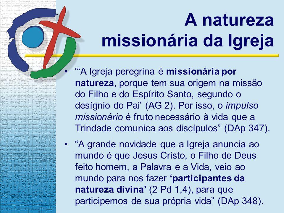 A natureza missionária da Igreja A Igreja peregrina é missionária por natureza, porque tem sua origem na missão do Filho e do Espírito Santo, segundo