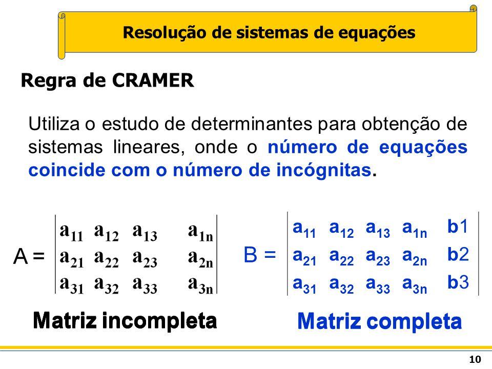 10 Resolução de sistemas de equações Regra de CRAMER Utiliza o estudo de determinantes para obtenção de sistemas lineares, onde o número de equações c