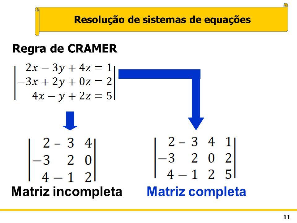 11 Resolução de sistemas de equações Regra de CRAMER Matriz completaMatriz incompleta