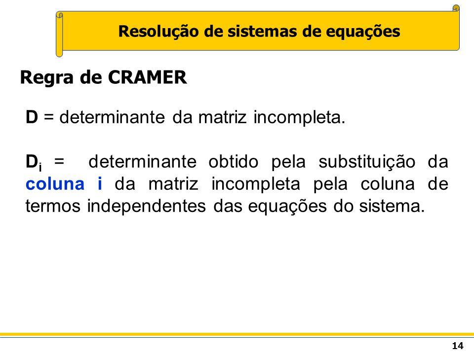 14 Resolução de sistemas de equações Regra de CRAMER D = determinante da matriz incompleta. D i = determinante obtido pela substituição da coluna i da