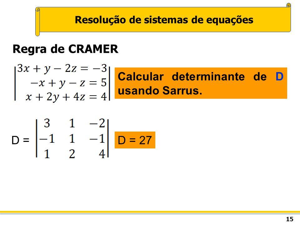 15 Resolução de sistemas de equações Regra de CRAMER Calcular determinante de D usando Sarrus. D =D = 27